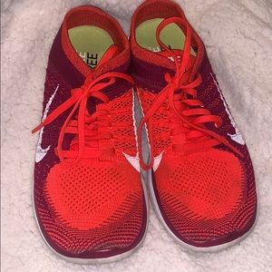 Nike Women's Free Flyknit 4.0 Red Shoes